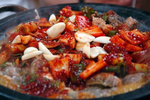 Kkomjangeo bokkeum, a Korean stir fry hagfish - image: