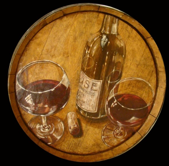 Wine barrel painting by Diane Hoffmann