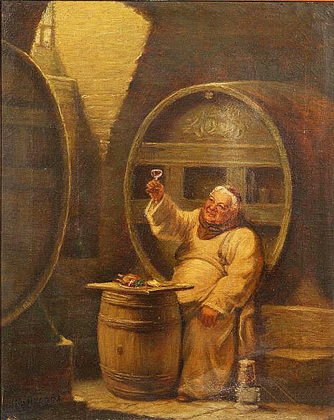 Monk Drinking Wine - L A Biggs