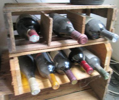I use anything that will store bottles horizontally