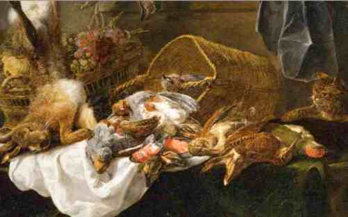 Venison and basket of grapes watched by a cat