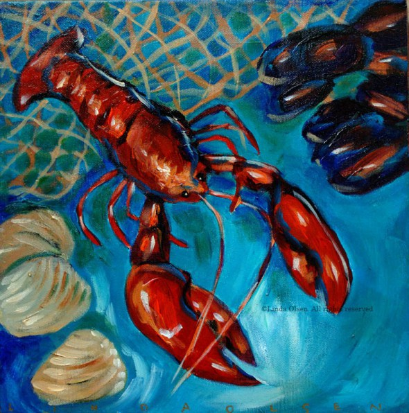 Lobster dinner painting